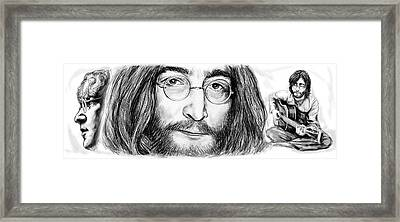 John Lennon Art Drawing Sketch Poster Framed Print by Kim Wang