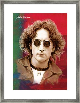 John Lennon Art Stylised Drawing Sketch Poster Framed Print by Kim Wang