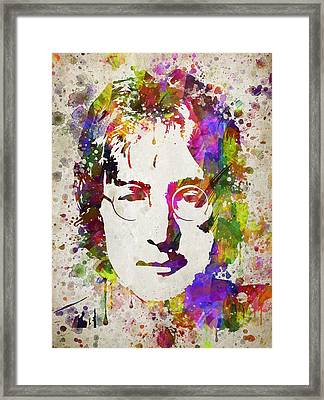 John Lennon In Color Framed Print by Aged Pixel