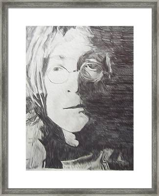 John Lennon Pencil Framed Print by Jimi Bush