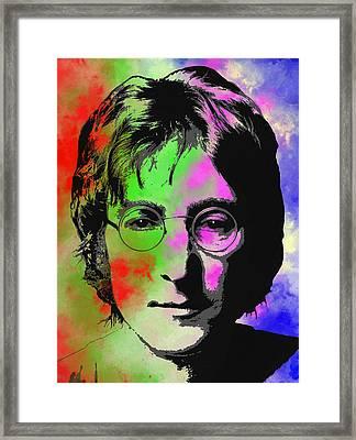 John Lennon Pop Art Closeup Framed Print by Daniel Hagerman