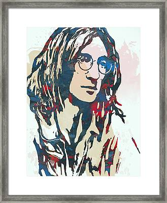 John Lennon Pop Art Sketch Poster Framed Print by Kim Wang