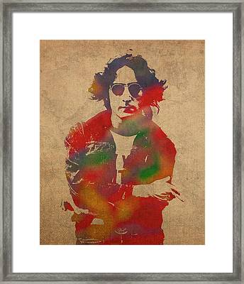 John Lennon Watercolor Portrait On Worn Distressed Canvas Framed Print by Design Turnpike