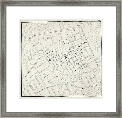 John Snow's Cholera Map Framed Print by British Library