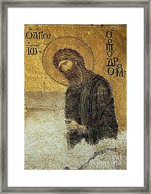John The Baptist-detail Of Deesis Mosaic  Hagia Sophia-judgement Day Framed Print by Urft Valley Art