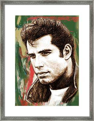 John Travolta - Stylised Drawing Art Poster Framed Print by Kim Wang