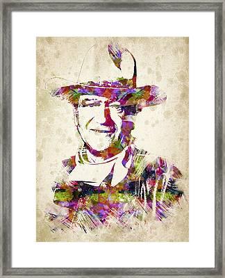 John Wayne Portrait Framed Print by Aged Pixel