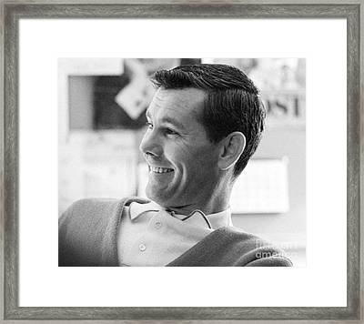 Johnny Carson On The Set Of The Tonight Show 1963 Framed Print by The Harrington Collection