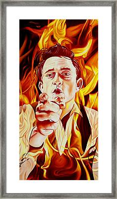 Johnny Cash And It Burns Framed Print by Joshua Morton