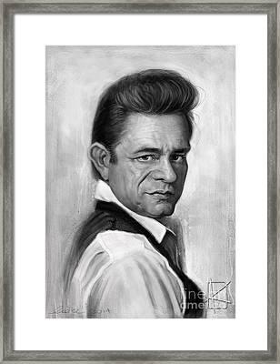 Johnny Cash Framed Print by Andre Koekemoer