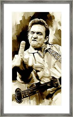 Johnny Cash Artwork 2 Framed Print by Sheraz A
