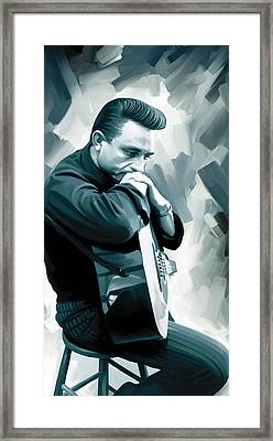 Johnny Cash Artwork 3 Framed Print by Sheraz A