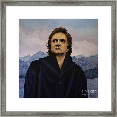 Johnny Cash Painting Framed Print by Paul Meijering