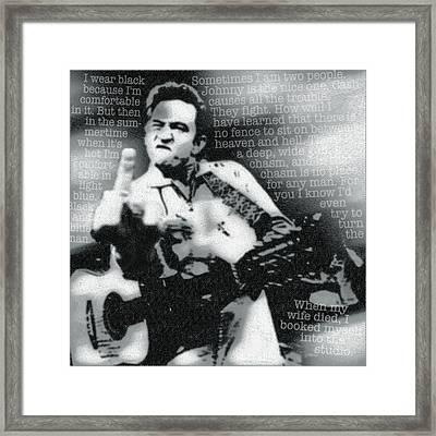 Johnny Cash Rebel Framed Print by Tony Rubino