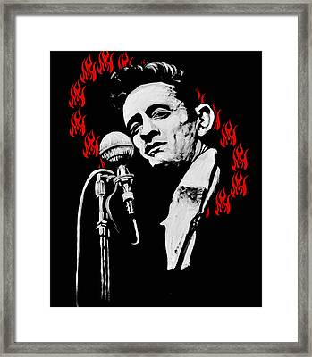Johnny Cash Ring Of Fire Framed Print by Melissa O'Brien