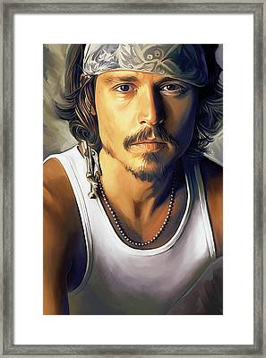 Johnny Depp Artwork Framed Print by Sheraz A
