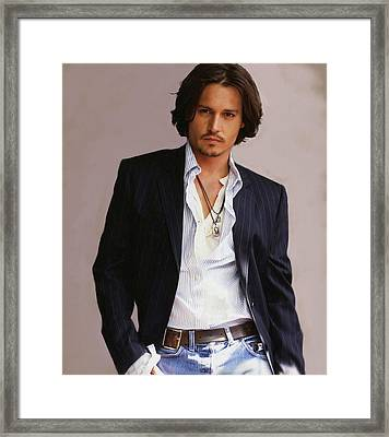 Johnny Depp Framed Print by Dominique Amendola