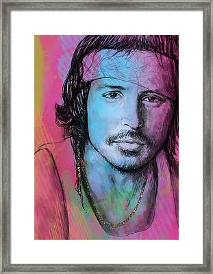 Johnny Depp - Stylised Pop Art Drawing Sketch Poster Framed Print by Kim Wang