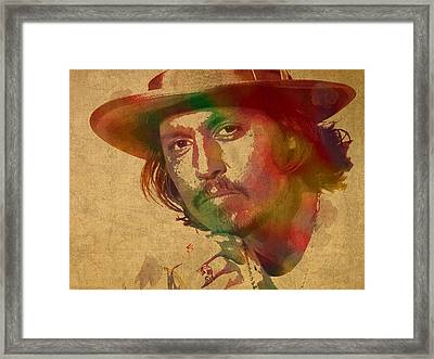 Johnny Depp Watercolor Portrait On Worn Distressed Canvas Framed Print by Design Turnpike