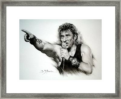 Johnny Halliday Framed Print by Guillaume Bruno