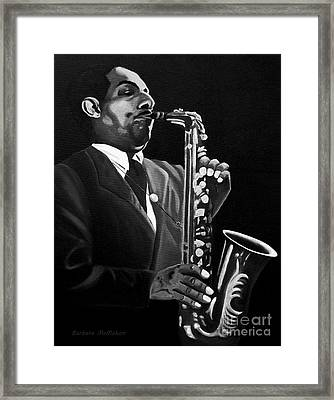 Johnny Hodges Framed Print by Barbara McMahon