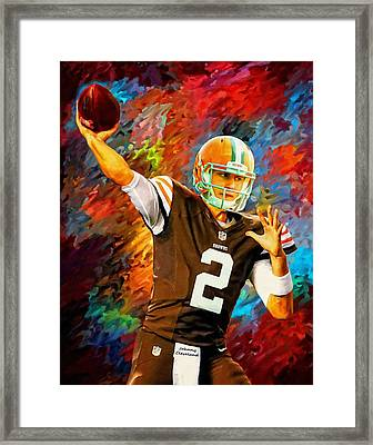 Johnny Manziel Cleveland Browns Football Art Painting Framed Print by Andres Ramos