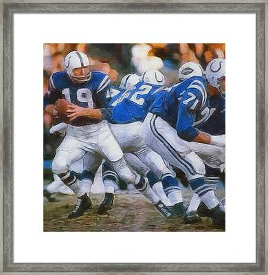 Johnny Unitas Painting Framed Print by Dan Sproul