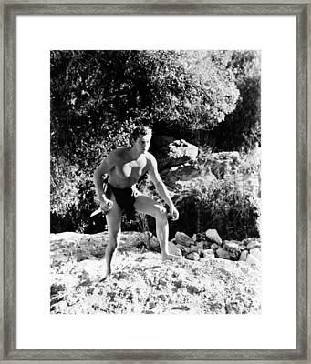 Johnny Weissmuller In Tarzan Finds A Son!  Framed Print by Silver Screen