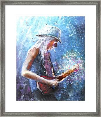 Johnny Winter Framed Print by Miki De Goodaboom