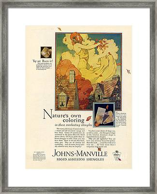 Johns-manville 1927 Usa Cc  Asbestos Framed Print by The Advertising Archives