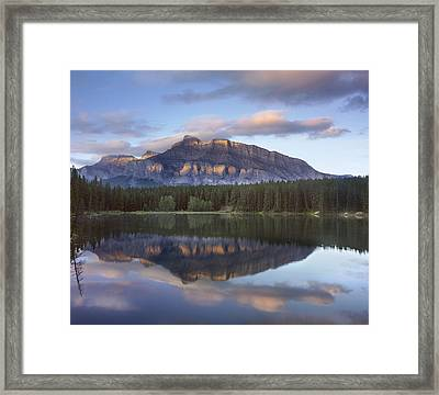 Johnson Lake And Mt Rundle Banff Framed Print by Tim Fitzharris