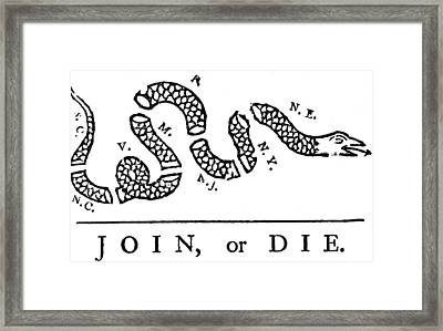 Join Or Die Framed Print by Anonymous