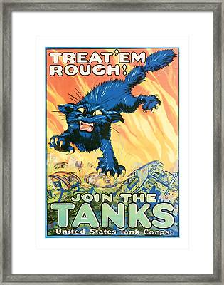 Join The Tanks Word War 1 Enlistment Art Framed Print by Presented By American Classic Art
