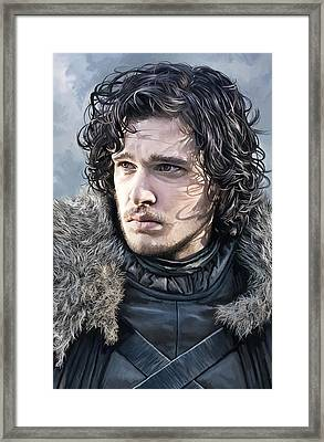 Jon Snow - Game Of Thrones Artwork Framed Print by Sheraz A