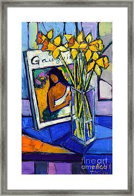 Jonquils And Gauguin Framed Print by Mona Edulesco