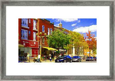 Jos Pappos Furs Street Scene Suburban Shops And Store Fronts Sherbrooke Montreal Carole Spandau Art  Framed Print by Carole Spandau