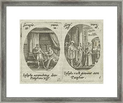 Joseph And Potiphars Wife, Potiphars Wife Accused Joseph Framed Print by Hans Janssen