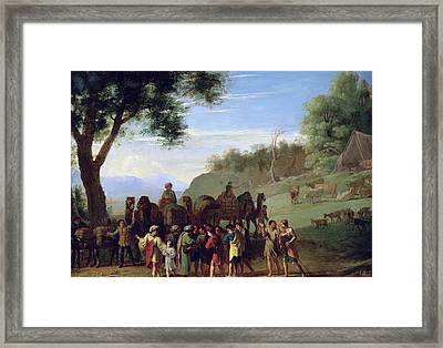 Joseph Sold By His Brothers Oil On Canvas Framed Print by Herman van Swanevelt