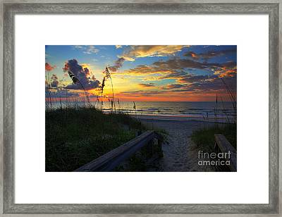 Joy Comes In The Morning Sunrise Carolina Beach Nc Framed Print by Wayne Moran