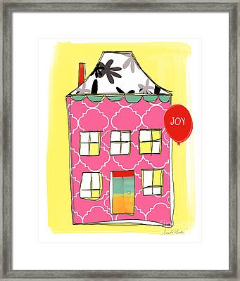 Joy House Card Framed Print by Linda Woods
