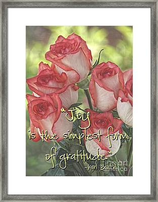 Joyful Gratitude Framed Print by Peggy Hughes