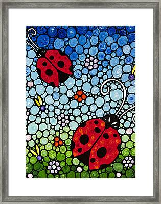 Joyous Ladies Ladybugs Framed Print by Sharon Cummings