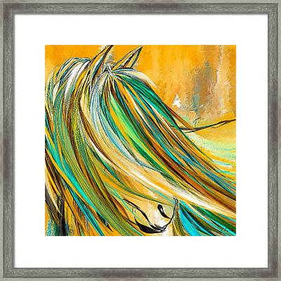 Joyous Soul- Yellow And Turquoise Artwork Framed Print by Lourry Legarde
