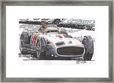Juan Fangio Mercedes Benz German Grand Prix Framed Print by Paul Guyer