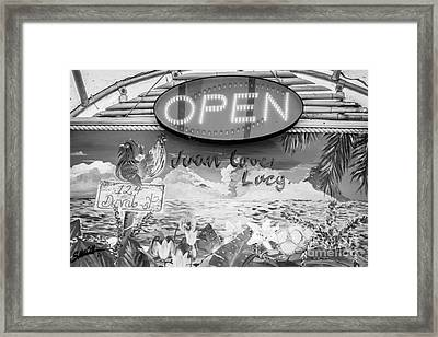 Juan Loves Lucy Key West - Black And White Framed Print by Ian Monk