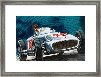 Juan Manuel Fangio Driving A Mercedes-benz Framed Print by English School
