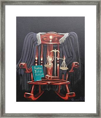 Judge Judys Justice Framed Print by Susan Roberts
