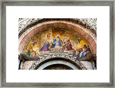 Judgement Day Mosaic At St Marks In Venice Framed Print by Paul Cowan