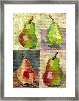 Juicy Pears Four Square Framed Print by Shalece Elynne