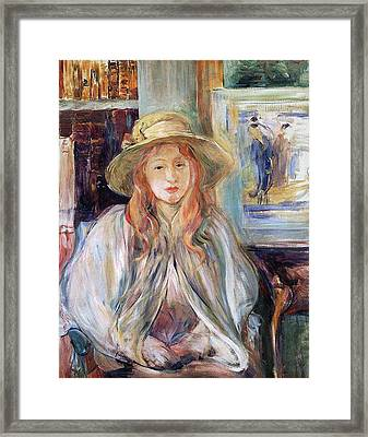 Julie Manet With A Straw Hat Framed Print by Berthe Morisot